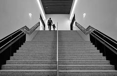 father and son (heinzkren) Tags: schwarzweis blackandwhite bw sw nonochrome stairs stairway man child geometry symmetry lines urban street streetphotography candid up stiege treppe aufgang wien schwechat airport flughafen human people indoor station architecture bahnhof architektur geländer railing handrail innamoramento