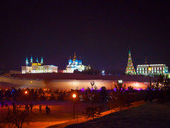 Kazan Kremlin - Night view from the Kremlin embankment (romanovkzn) Tags: татарстан tatarstan казань kazan город city кремль kremlin kazankremlin казанскийкремль архитектура architecture храм церковь temple church зима ночь winter night