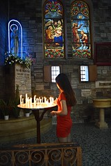 Notre Dame Cathedral (Seventh Heaven Photography - (Travel)) Tags: notre dame cathedral ho chi minh city vietnam prayer praying pray girl person candles shrine stained glass window nikon d3200