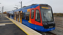 Tram Train 'Citylink' 399203 at Rotherham Parkgate Tram Terminus. (ManOfYorkshire) Tags: 399203 class399 tramtrain tram train stagecoach supertram sheffield rotherham parkgate station terminus shoppingcentre tt citylink