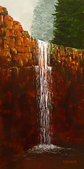 """""""The Falls"""" (Rvoelk) Tags: landscapes russ voelker waterfalls cliffs streams oil paintings nature falls creeks"""