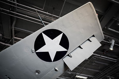F4F Wildcat - under wing design (Photos By Clark) Tags: northamerica california location canon2470 canon5div unitedstates cities sandiego locale places where us f4f wwii aircraft detail museum static gray lightroom thesandiegoist star usa