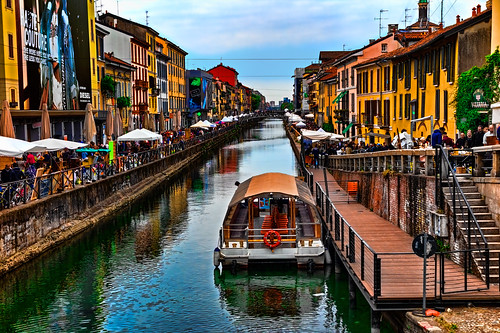 Antiques market of the Naviglio Grande in Milan