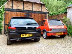 Peugeot 306 GTI-6 & 205 GTI 1.9 (Marc Sayce's Old Digital Photos) Tags: peugeot 306 gti6 black 1999 1998 2000 205 gti 19 1900 cc cherry red 1987 1988 1989 1990