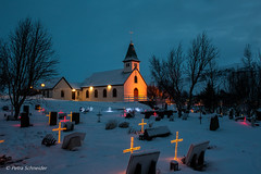 Church in Iceland in december (Petra Schneider photography) Tags: iceland island islande church churchyard lights holidayseason december cross