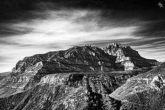 En ruta para Montserrat (Andrea Rizzi Esk) Tags: spain montserrat montain black white bw landscape nature contrast dark sky catalonia effect orton