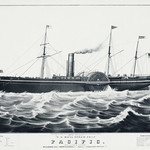 U.S mail steam ship The Pacific, illustrated by N. Currier. Original from Library of Congress. Digitally enhanced by rawpixel. thumbnail