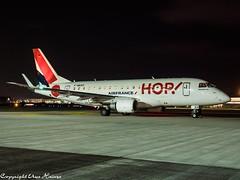 HOP! F-HBXH HAJ at Night (U. Heinze) Tags: aircraft airlines airways airplane planespotting plane night 1240mm olympus penf haj hannoverlangenhagenairporthaj eddv