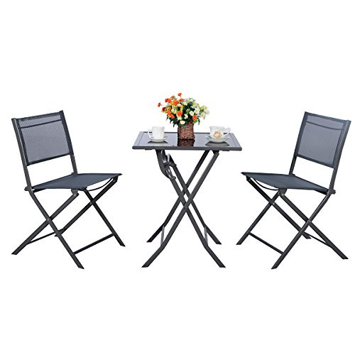 TANGKULA Outdoor Patio Bistro Set Foldable Chairs & Table for Backyard Lawn Balcony Pool Outdoor Modern Rattan Wicker Dining Set Patio Furniture Set Outdoor Patio Conversation Set (Rectangle)