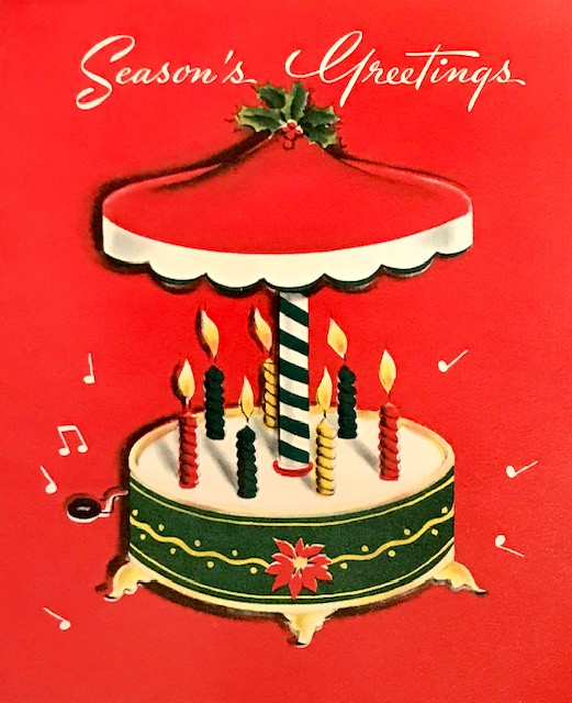 Seasons Greetings Carousel Saltycotton Tags Holidays Christmas Greetingcards Candles Music Vintage 1950s