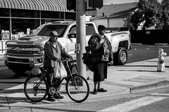 Crossing the Street (Eric Bloecher) Tags: people person men man streetphotography street crosswalk truck bicycle hydrant blackandwhite black white bw blackwhite blackwhitephotos