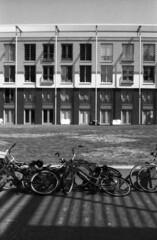 Dutch view (lumpy79) Tags: pentax me smc pentaxm 1750mm forte 200 expired 2004 shot iso64 2015 holland hollandia dutch bibe bicycle shadow blackandwhite bw brancoenegro smcpm50mmf17