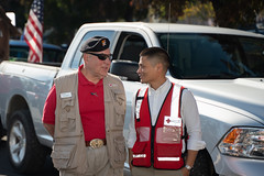 Larry Dietz and Go Funai having a chat while waiting to join the parade (American Red Cross of Silicon Valley) Tags: veteransdayparade siliconvalleychapter americanredcross sanjose oleksiinazaruk