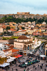 Monastiraki Square and the Acropolis in Athens Greece (T is for traveler) Tags: green travel traveler traveling tisfortraveler tourist tourism digitalnomad photography athens greece monastiraki square acropolis panoramic view canon 5d markii 50mm greek day life lifestyle people landmark