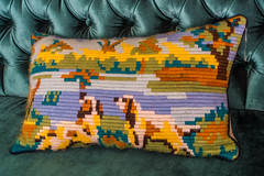 Tapestry cushion, Jaffa, Tel Aviv, Israel (R H Kamen) Tags: israel middleeast telaviv artandcraft chair cushion dog furniture rhkamen tapestry