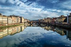 Florence stares at itself in the Arno river (marcomerkbruno) Tags: firenze florence arno lungarno italy river blue sky mirror reinassance rinascimento santa maria novella