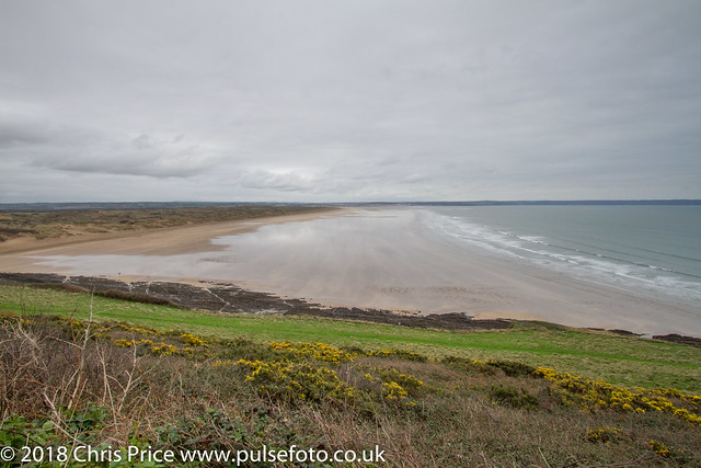 Saunton Sands lookig towards Braunton Burrows, Devon