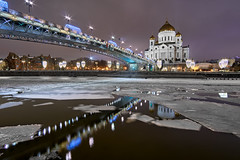 Cathedral of Christ The Savior at Winter Night (ladanvii) Tags: church worship architecture landmark river bridge moscow russia ice city night winter dome building steeple urban