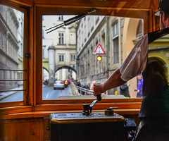 A driver in cockpit of vintage wooden tram (phuong.sg@gmail.com) Tags: architecture attraction beautiful bright cable car city color conductor czechia drive driver driving electric europe famous green historical male man old people praha public rail railway retro scene street stunning symbol tourism touristic traditional tram tramcar tramway transport transportation travel trolley vintage