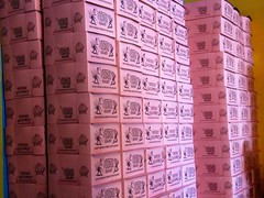 Voodoo Doughnut Mile High (kenjet) Tags: colorado pink box boxes stack stacked donut donuts voodoo voodoughnut milehigh doughnut label labels