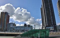 (Uno100) Tags: rotterdam 2019 erasmus garage p parking green glass entrance brug bridge art building bike