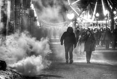 Grande Allee (albyn.davis) Tags: holiday people blackandwhite atmosphere smoke steam light night canada quebec urban city street cold