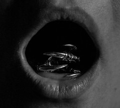 1. dark places (theemcrow) Tags: crow selfie self portrait bw blackandwhite mouth claw jewellery