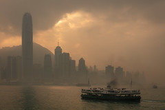 Victoria Harbour (josullivan.59) Tags: 2019 asia china hongkong january victoriaharbour boat city clouds cloudy ferry fog harbor harbour mist outdoor outside overcast skyline skyscraper starferry water light backlit travel