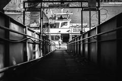 all aboard (Zesk MF) Tags: bw black white candid street mono zesk cologne x100f fuji strase boat river rhein aboard