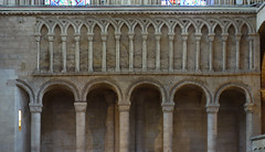Interlaced blind arcade above Romanesque colonnade, Ely Cathedral