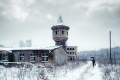 Lost in Wintery Desolation (Ralph Graef) Tags: traveller winter snow desolation dystopia drabness drab dreary abandoned decay urbex staged tower rotten disused nostalgia brandenburg