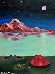 Alpine Lake (victoriathompson456) Tags: alpine lake mountain acrylic painting night dusk tent canoe kayak explore adventure outdoor art