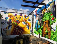 Maneki-neko vs.Spirits by Arbiter EPH (wiredforlego) Tags: graffiti mural streetart urbanart aerosolart publicart williamsburg brooklyn newyork nyc ny arbitereph