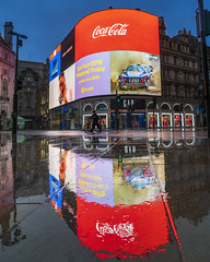 Rain Walk (JH Images.co.uk) Tags: london dri hdr night advertisements piccadilly piccadillycircus reflection reflections bike twilight architecture