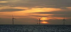 Three Wind Turbines at Sunrise - North Sea (Gilli8888) Tags: nikon p900 coolpix northumberland newbigginbythesea newbiggin northsea beach sand coast coastal shore seaside seascape sun dawn sea water marine turbines windturbines silhouette silhouettephotography offshore sunrise