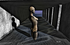 Standby (Ladmilla) Tags: sl secondlife surreal surrealism art digital digitalart exhibition artexhibition theedgegallery theedge edge gallery mannequin tunnel water shadow standby