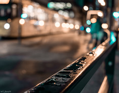 Droplets and the Metrolink (WT_fan06) Tags: rainy manchester tramway metrolink reflectrions bokeh blur nikon d3400 dslr photography night street yellow aqua blue urban cityscape focus lights moody atmosphere composition cold november winter contrast exposure