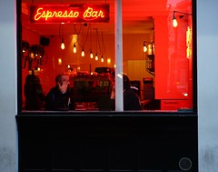 The Soho Grind (stephenjenkins25) Tags: colour street photography candid people portrait red neon coffee cafe