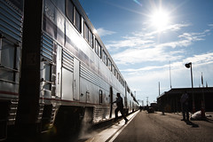 all aboard (Ryan J Gaynor) Tags: amtrak southwestchief lajunta colorado backlit train passengertrain usa trains travel railroad railfan railway railroading transportation