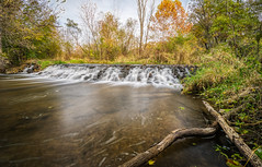 Autumn Falls (tquist24) Tags: bonneyvillemillcountypark hdr indiana nikon nikond5300 outdoor autumn fall geotagged grass log longexposure nature park river rock rocks sky tree trees water waterfall bristol unitedstates