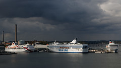 High traffic Stockholm port in a gloomy day (HansPermana) Tags: stockholm sweden schweden sverige sea cruise ship ferry transportation eu europe europa nordic scandinavia skandinavien northeurope nordeuropa seatransportation vikingline