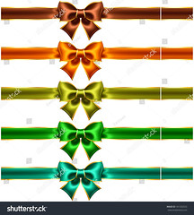 Bright holiday bows with gold edging and ribbons (D E V I S E R) Tags: bow ribbon card gift invitation silk border gold edging accessory christmas birthday wedding anniversary discount green brown olive orange turquoise voucher flyer vector design shutterstock
