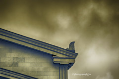 Cloudy Future (Photographybyjw) Tags: cloudy future ominous clouds over this massive building north carolina ©photographybyjw cloudscape bricks stone abutment small town rural country usa