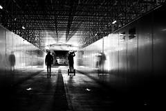 In parallel (pascalcolin1) Tags: paris13 austerlitz homme man gare station lumière light reflets reflection parallel parallèle photoderue streetview urbanarte noiretblanc blackandwhite photopascalcolin 50mm canon50mm canon