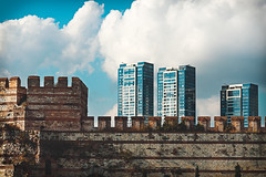 Old city walls at Yedikule, Istanbul (sdhaddow) Tags: istanbul turkey architecture wall ottoman tower brick stone