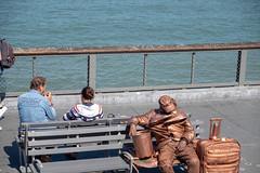Goldfinger's nap time (Dominic Sagar) Tags: amy arlen felsen friends sanfrancisco bench gold performer sea statue california unitedstates us