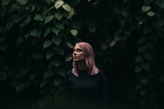 Serene (AlexanderHorn) Tags: serene calm pink hair eyes girl woman portrait portraiture simplistic minimal minimalism green bushes meditation
