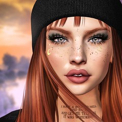 Falls (Arwen Clarity) Tags: sllooksgoodtoday secondlife sl slblog pose people 2ndlife second life mesh maitreya blogs blog blogger bloggers blogging genus deetalez leluch oxydate aviglam tattoo freckles hat beenie redhead