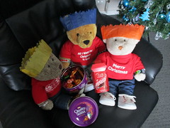 Choklit, anyone? (pefkosmad) Tags: tedricstudmuffin nobbynomates gingernutt ted nobby ginger teddy bear animal toy cute cuddly fluffy plush soft stuffed christmas festival winter winterval play december paperhats sweets chocolates confectionery qualitystreet lindt lindor food boxingday