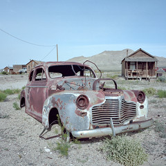 grilled. gold point, nv. 2016. (eyetwist) Tags: eyetwistkevinballuff eyetwist nevada goldpoint ghosttown car sedan abandoned rusty mojavedesert ruins lonely desolate roadtrip film 6x6 120 mamiya 6mf 50mm portra 160 mamiya6mf mamiya50mmf4l kodakportra160 ishootkodak ishootfilm analog analogue emulsion mamiya6 square mediumformat primes filmexif iconla epsonv750pro lenstagger highdesert roadsideamerica americantypologies usa desert west rural deathvalley mojave rust decay derelict grille chrome cabin 1941 chevrolet chevy